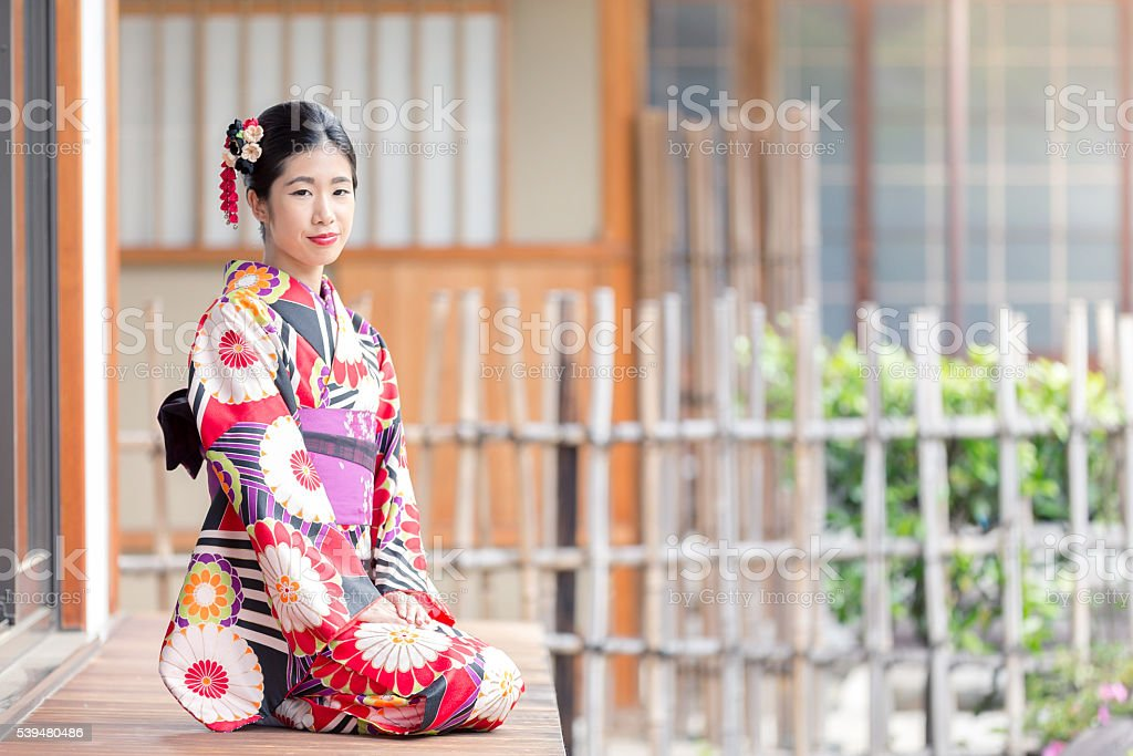 Japanese Girl in Kimono at Hyakumanben Chionji Temple, Kyoto, Japan stock photo