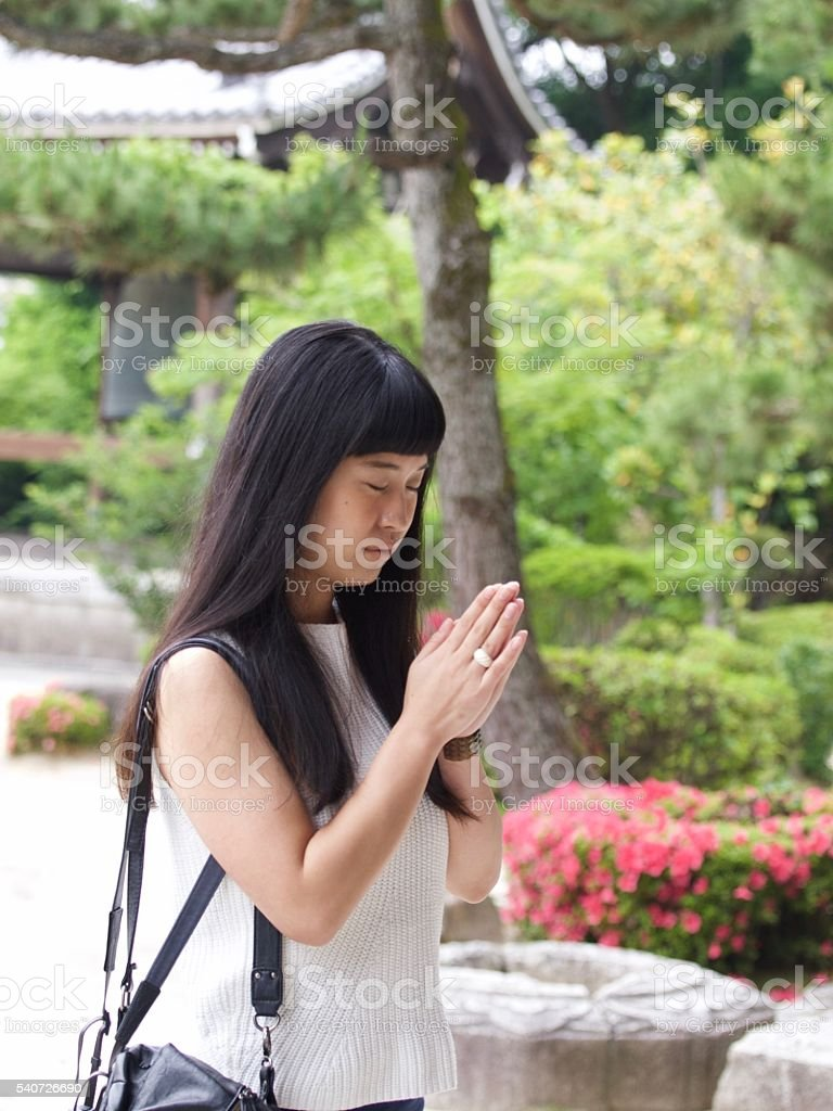 Japanese girl visit the temple at Kyoto called Chionji stock photo