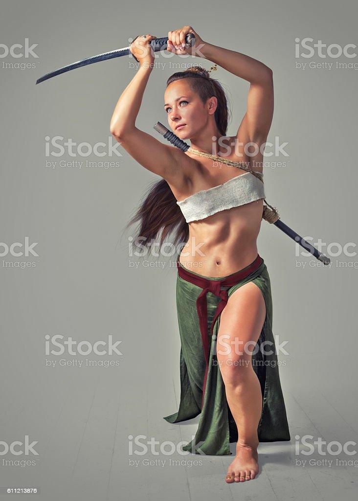 Japanese girl warrior. stock photo