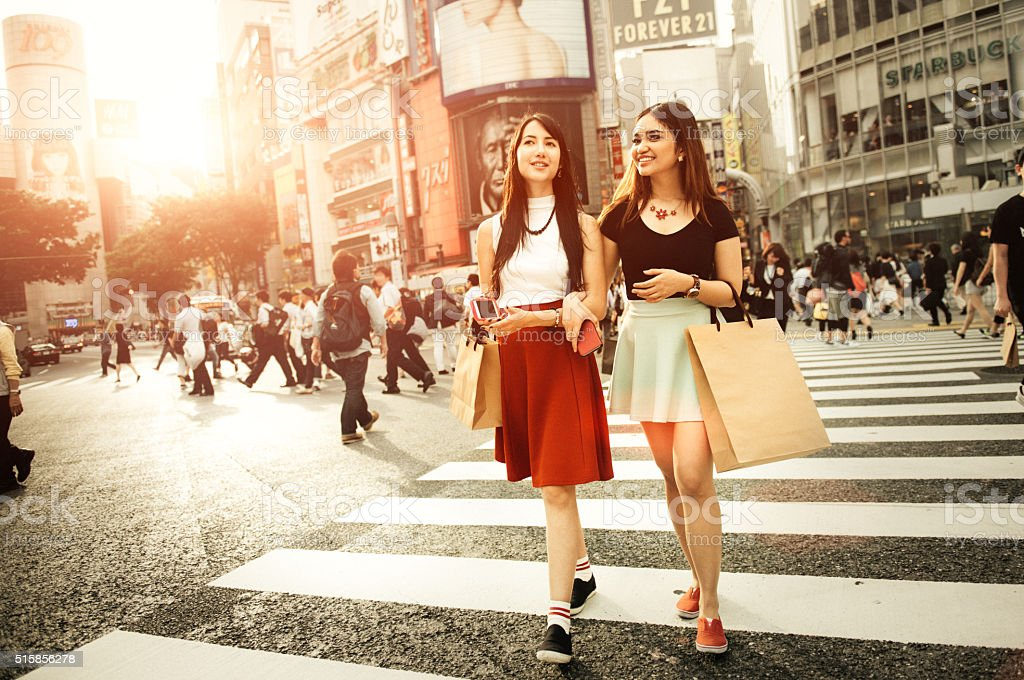 Japanese Girlfriends Shopping in Shibuya Tokyo stock photo
