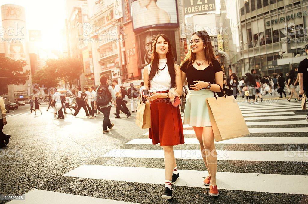 Japanese Girlfriends Shopping in Shibuya Tokyo stock photo