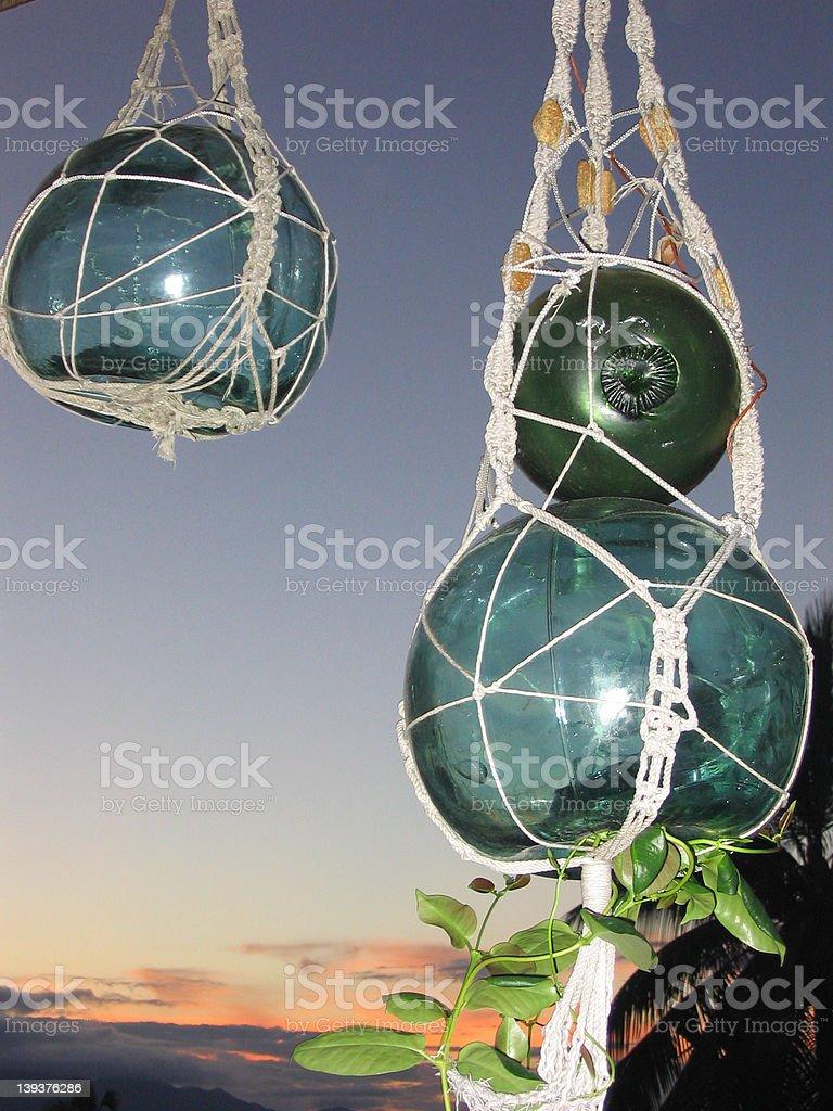 Japanese Glass Fishing Floats stock photo