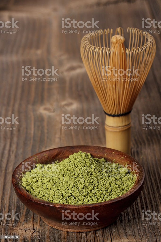 Japanese green powder tea stock photo
