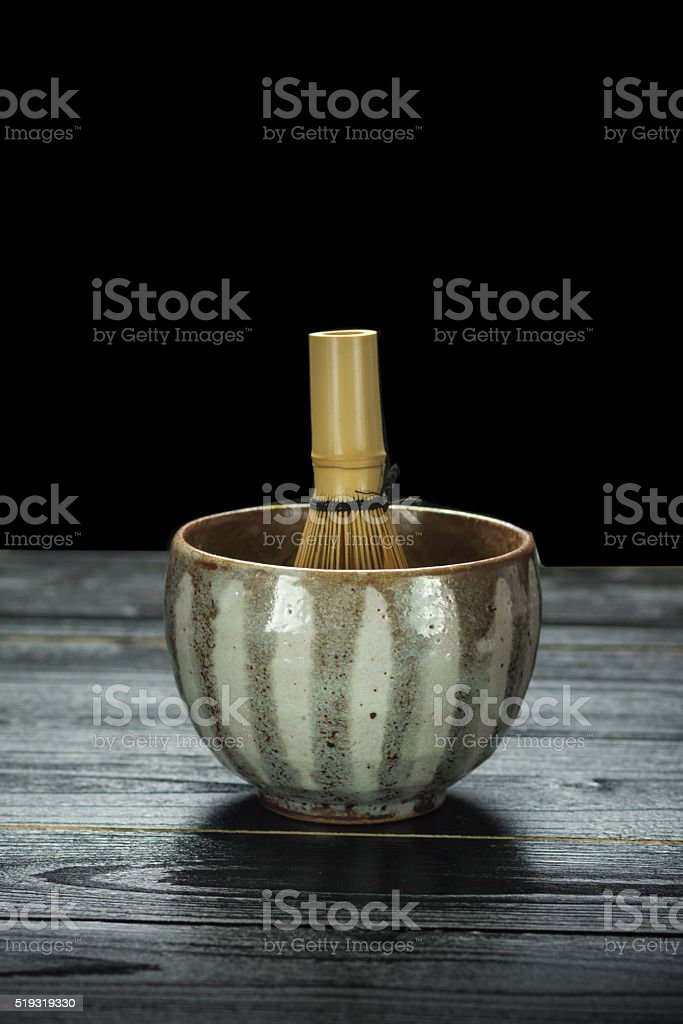 Japanese green tea and traditional utensil royalty-free stock photo