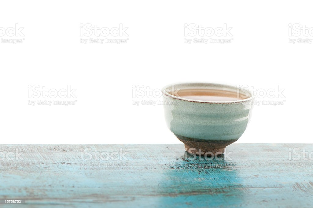 Japanese green tea cup, isolated on white background, copy space royalty-free stock photo