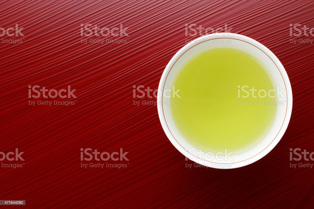 Japanese green tea in porcelain cup stock photo