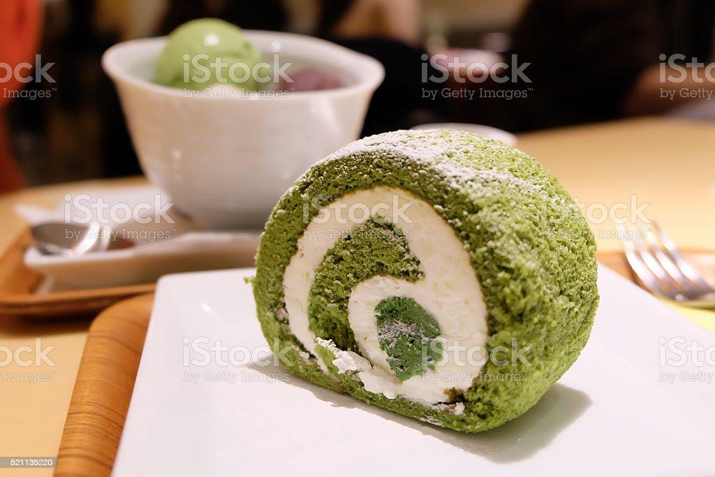 Japanese Green Tea Swiss Roll stock photo