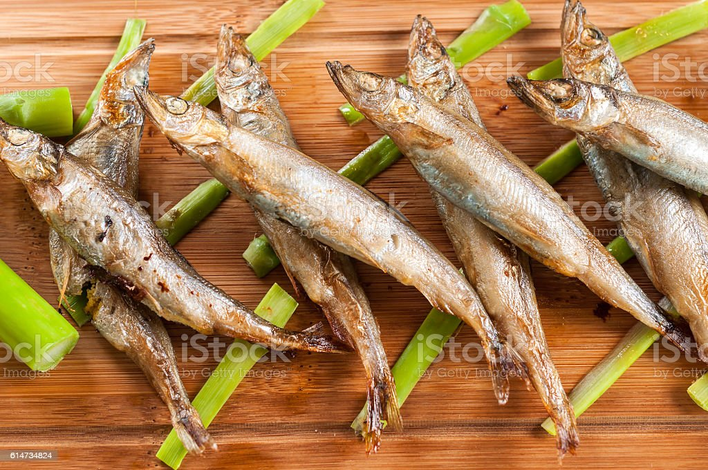 Japanese grilled capelin stock photo