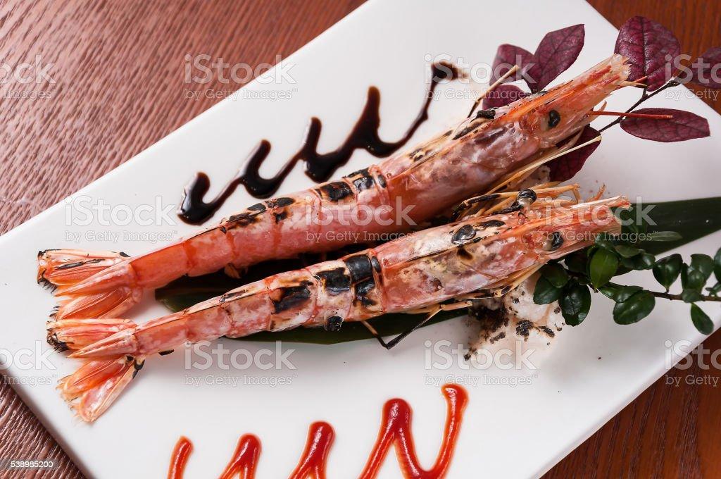 Japanese grilled shrimp stock photo