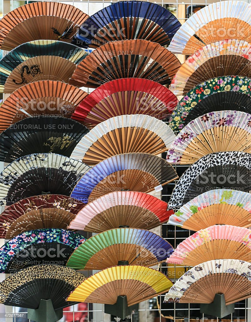 Japanese hand held fans stock photo