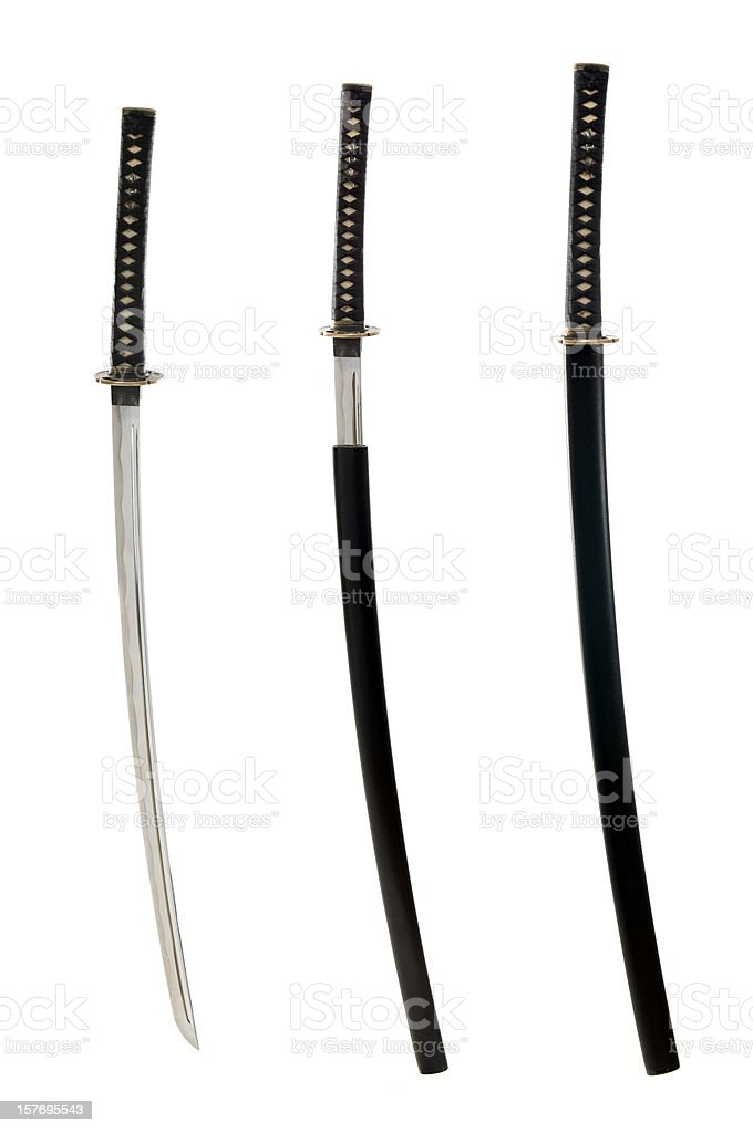 Japanese hand made katana, isolated on white stock photo