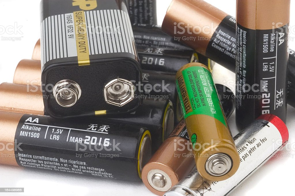 Japanese heavy duty and AA batteries stock photo