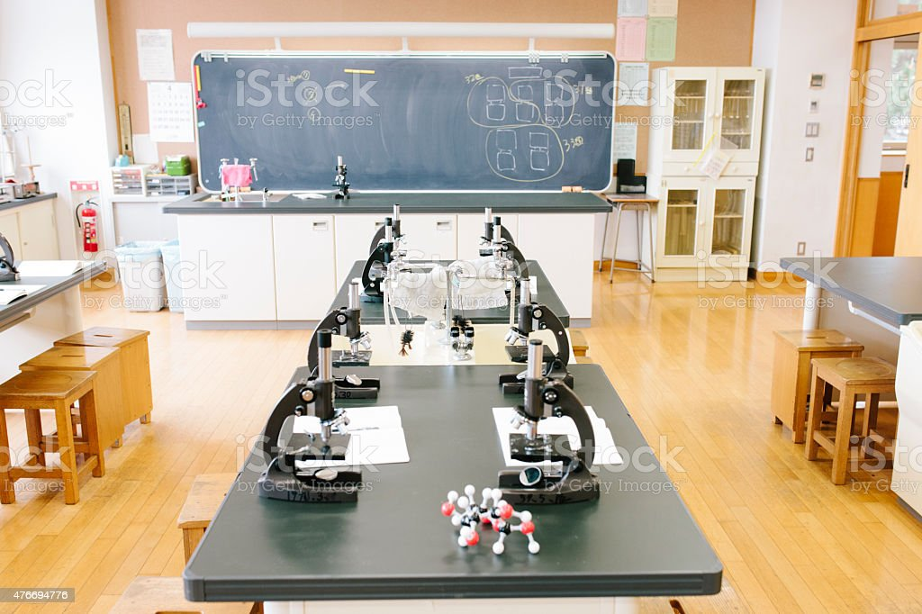 Japanese high school. An empty science laboratory, microscopes on benches stock photo