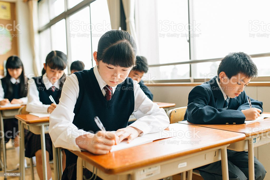 Japanese High School Students doing exams stock photo