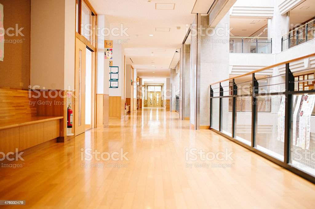 Japanese highschool. Corridor and side doors, contemporary architecture, Japan stock photo