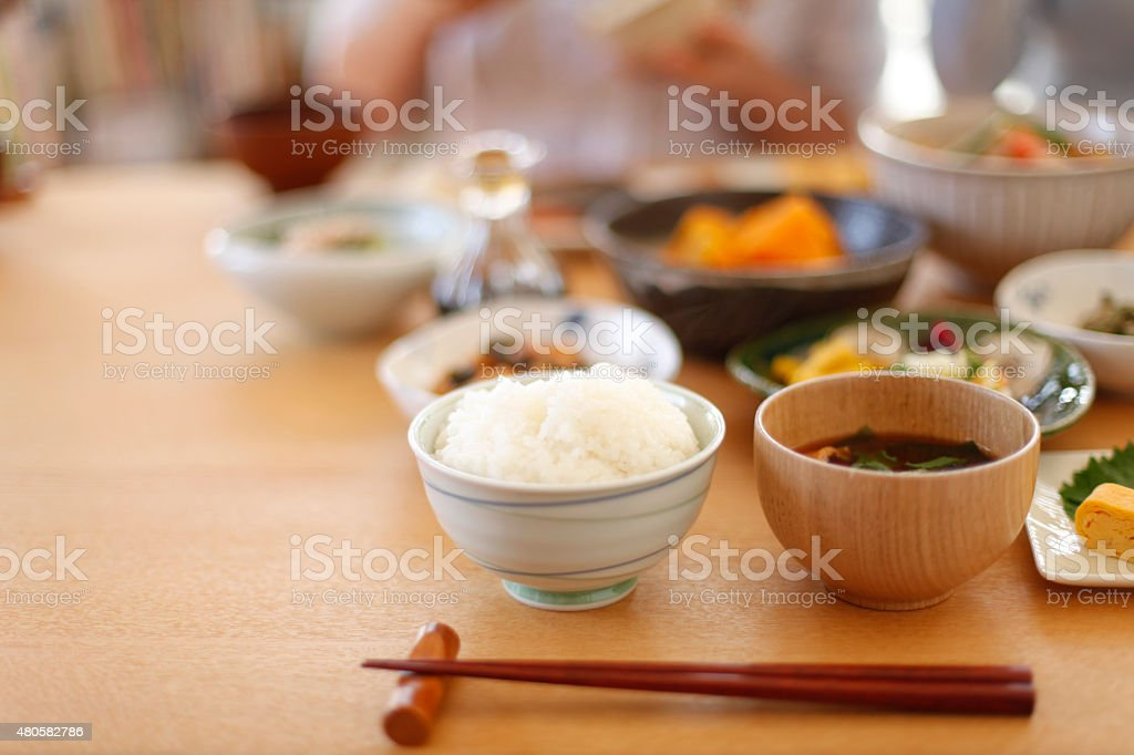 Japanese home cooking stock photo