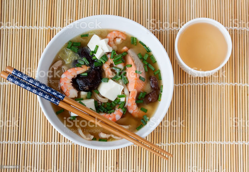 Japanese hot pot soup yosenabe stock photo