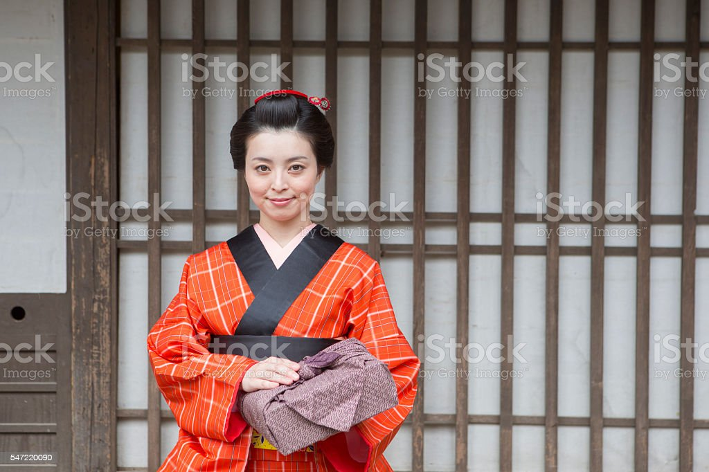 japanese housewife with kimono in toei studio oldtown kyoto japan stock photo