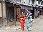japanese housewifes with kimono in toei studio oldtown kyoto japan