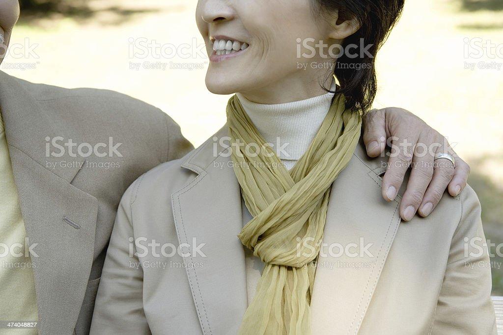 Japanese husband and wife nestling up stock photo