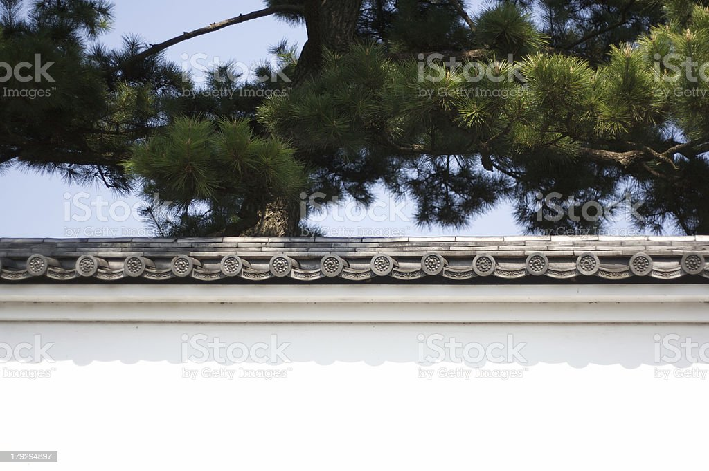 Japanese Imperial Castle Wall and Pine stock photo