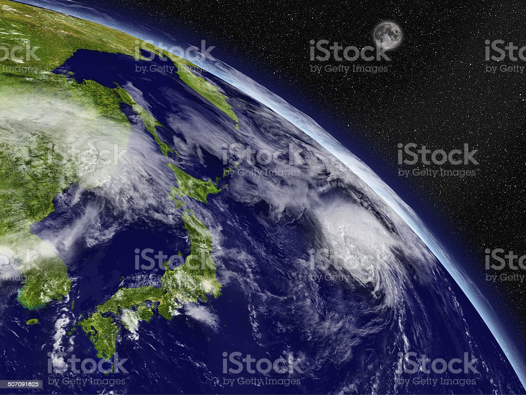 Japanese islands from space stock photo