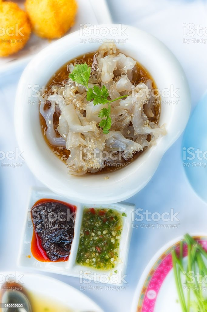 Japanese jellyfish salad, spicy dish commonly served in restaurants stock photo