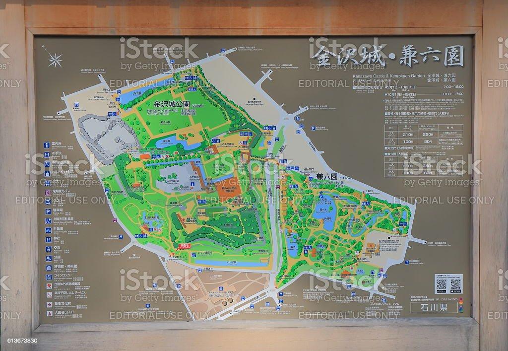 Japanese Kenroku Garden map Kanazawa Japan stock photo