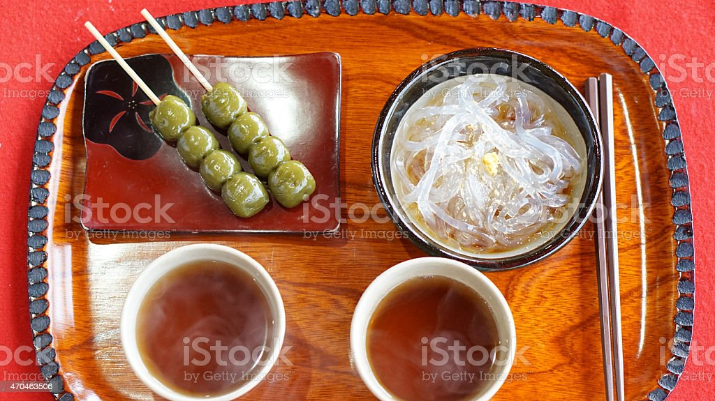 Japanese Kyoto traditional sweets dessert set serve with tea stock photo