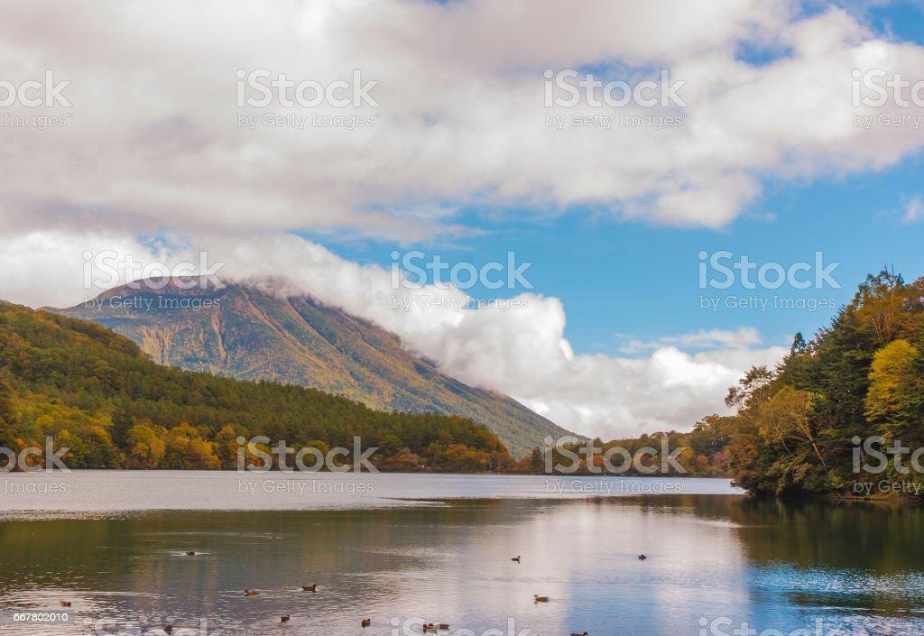 japanese landscape in autumn stock photo