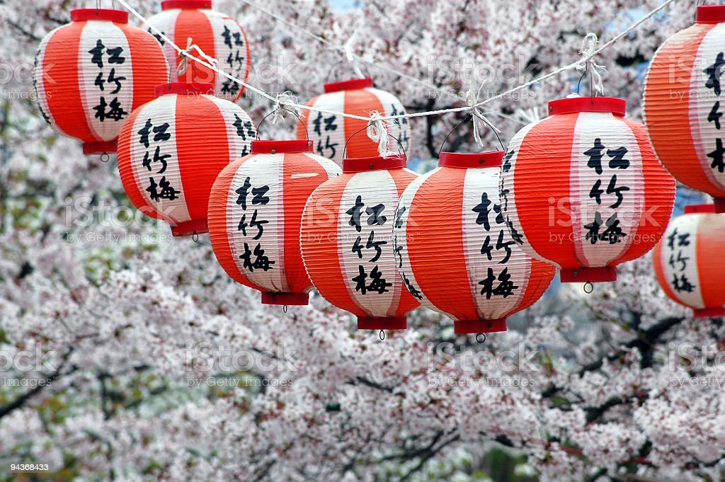 Japanese Lanterns and Cherry Blossom, Kyoto, Japan stock photo