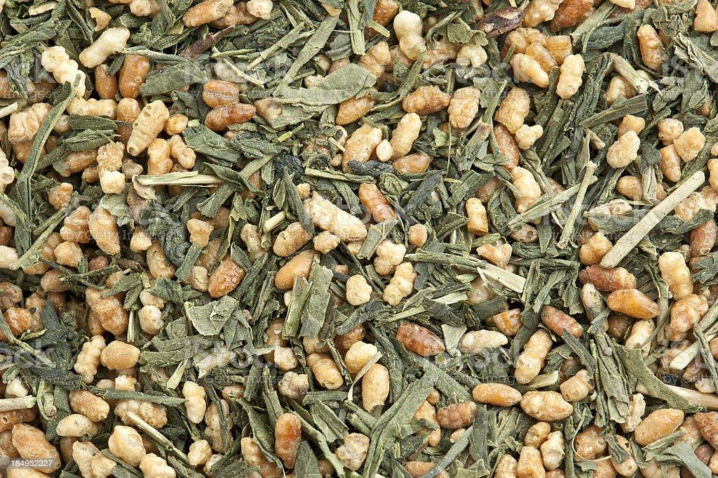 Japanese Macha Gem Mai Bulk Tea Background stock photo