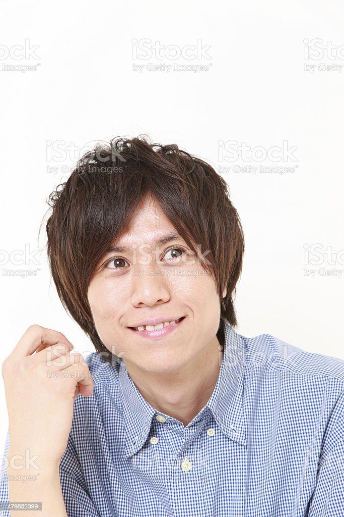 Japanese man dreaming at his future stock photo