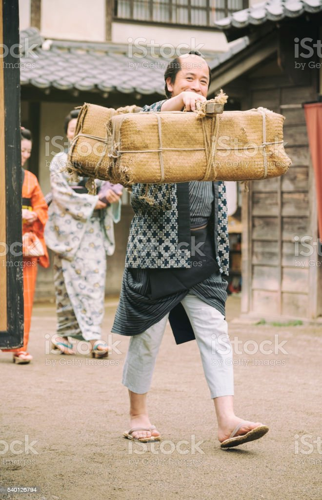 Japanese man in Edo Period Town stock photo