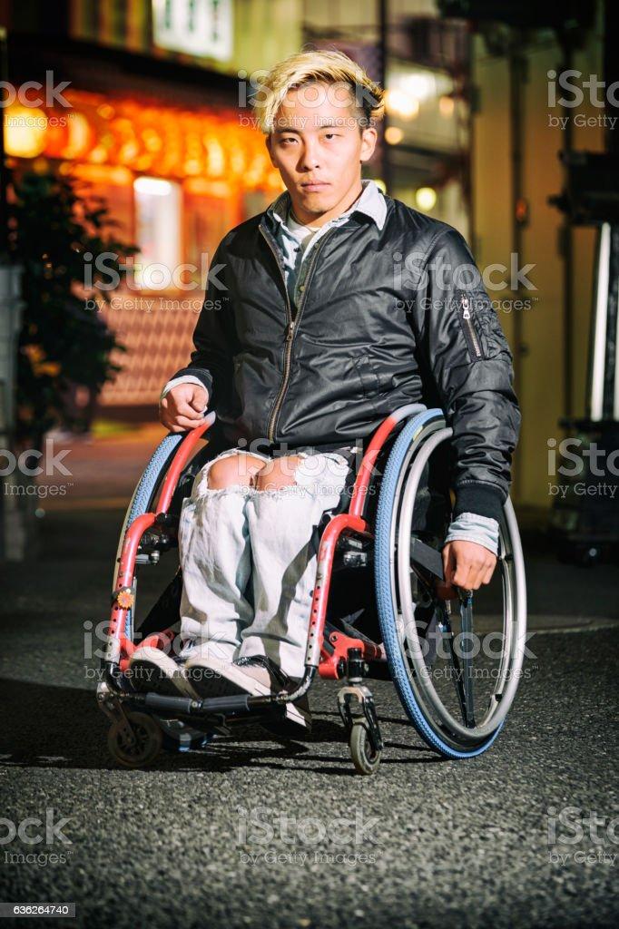 Japanese Man in Wheelchair stock photo