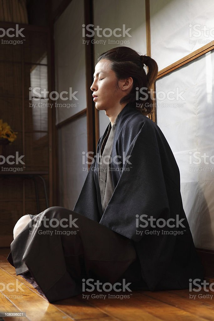 Japanese Man Meditating royalty-free stock photo