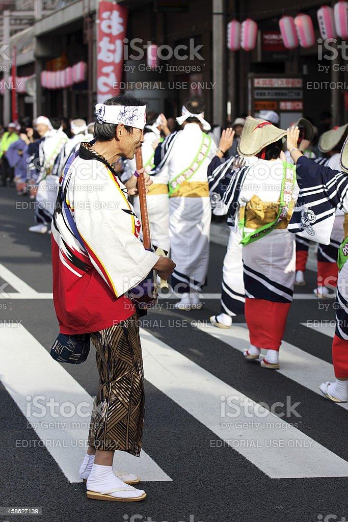 Japanese man playing shamisen at Ohara Matsuri Festival stock photo