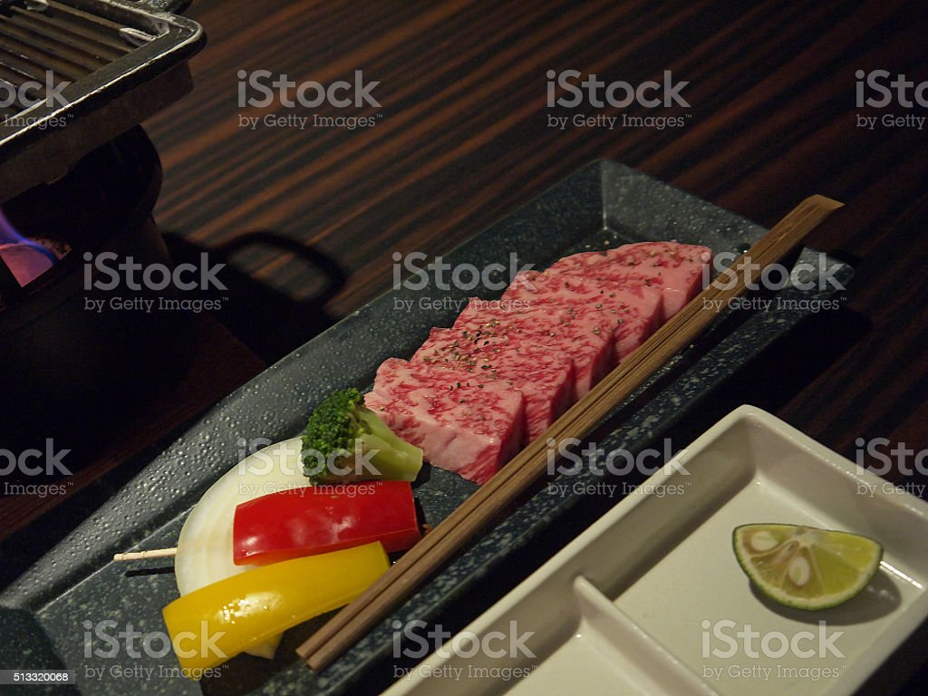 Japanese beef dinner stock photo