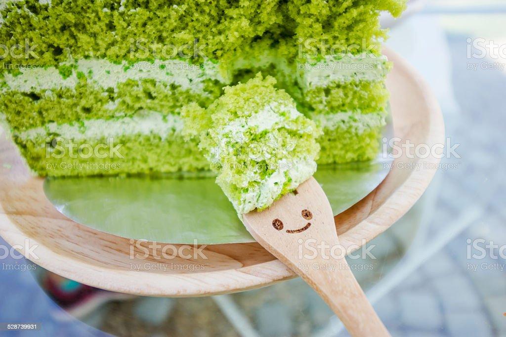 Japanese Matcha Green tea cake stock photo