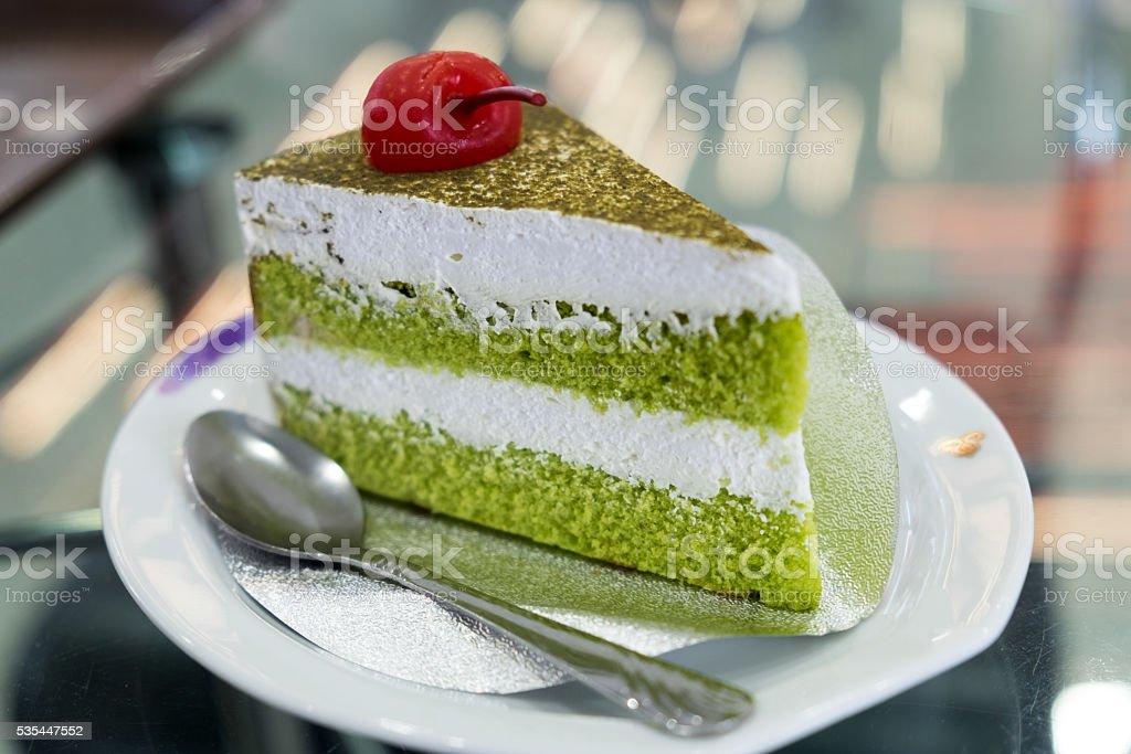 Japanese Matcha Green tea cake, tea and cake (green) stock photo