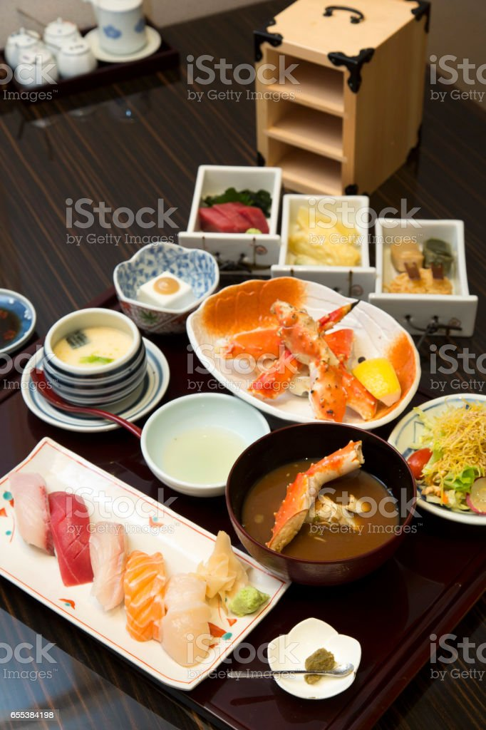 Japanese meal set group on table stock photo