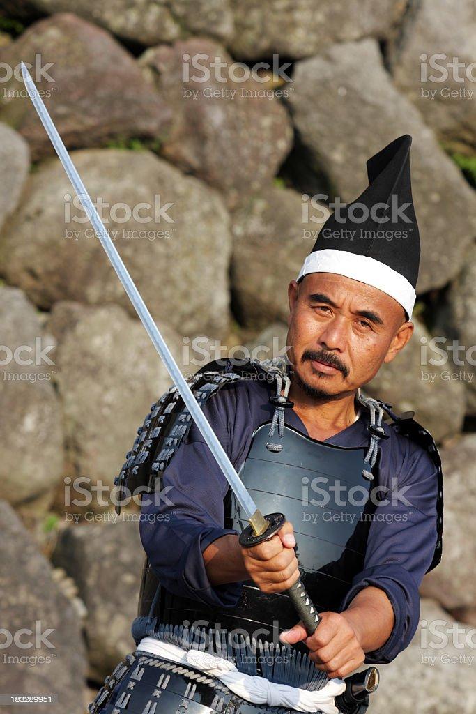 Japanische Männer und des katana konzipiert wurde Lizenzfreies stock-foto