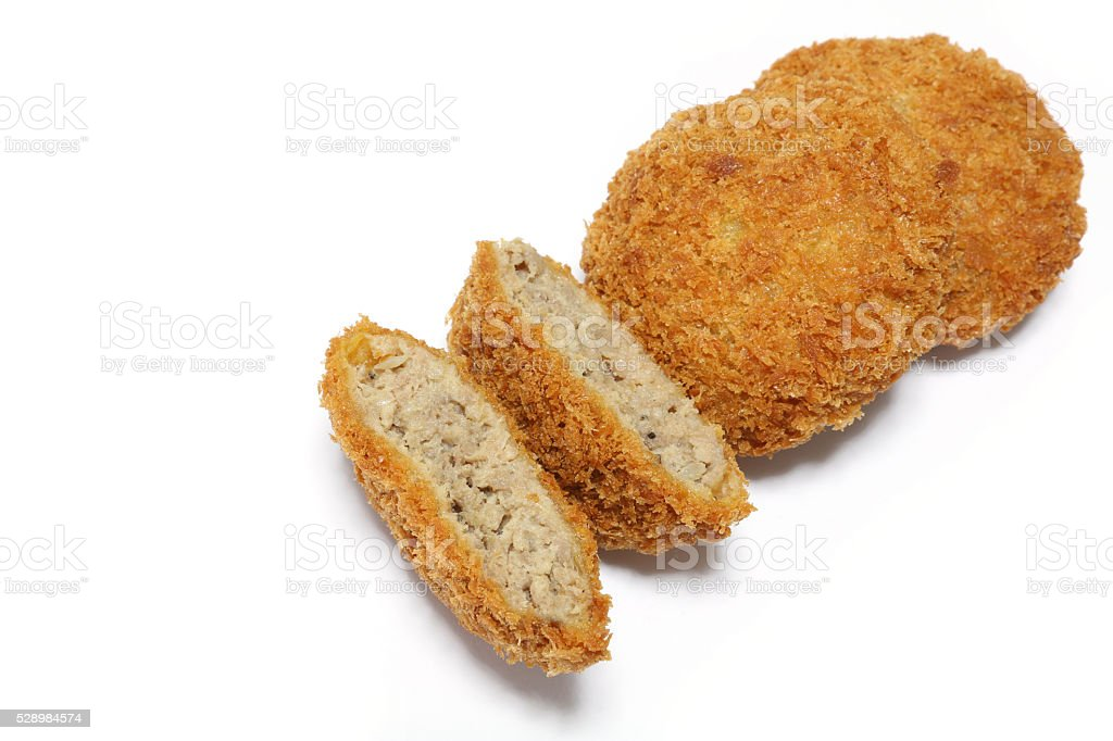 Japanese mince meat cutlet in white #2 stock photo