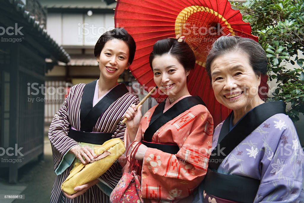 Japanese mother with daughters stock photo