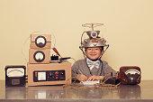 Japanese Nerd Boy Wearing Mind Reading Helmet