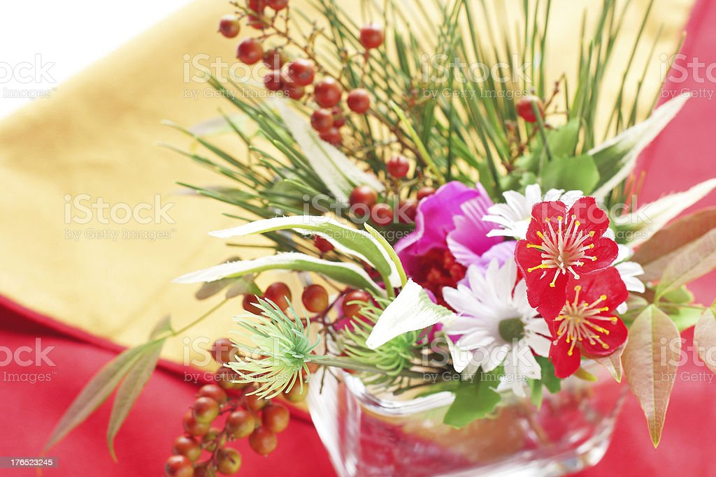 Japanese new years flowers stock photo
