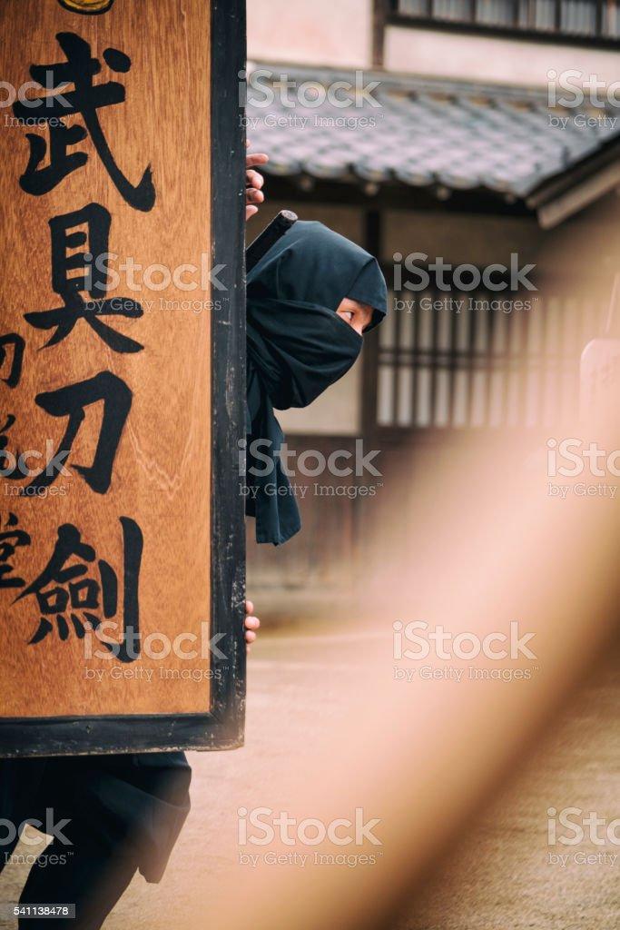Japanese Ninja in Edo Period Town stock photo