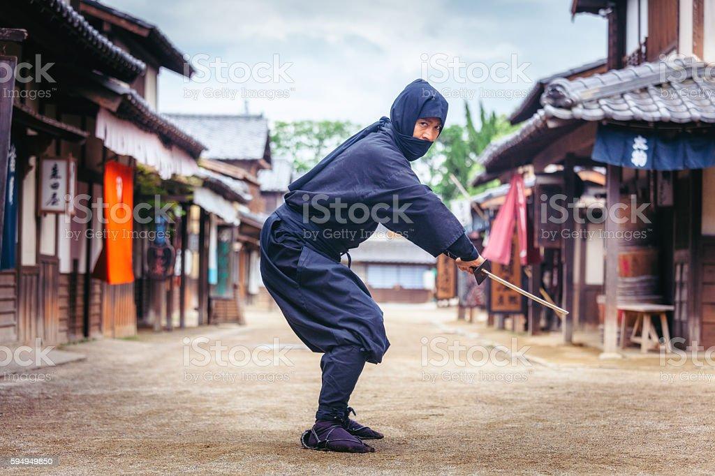 Japanese Ninja in Toei Studios, Kyoto stock photo