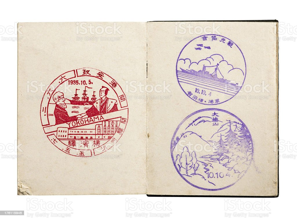 Japanese notebook with stamps stock photo