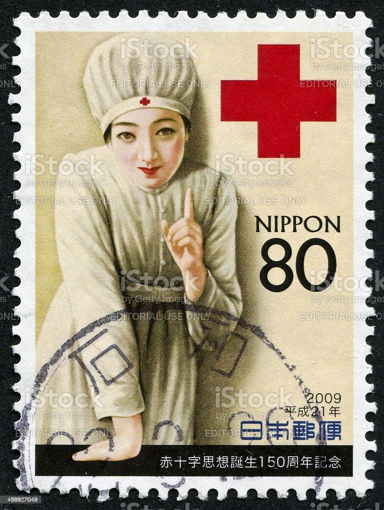 Japanese Nurse Stamp royalty-free stock photo